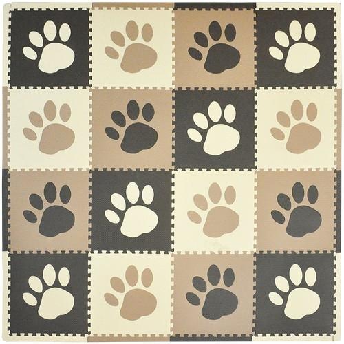 Tadpoles 16 Sq Ft Pawprint Playmat Set, Brown [Brown]