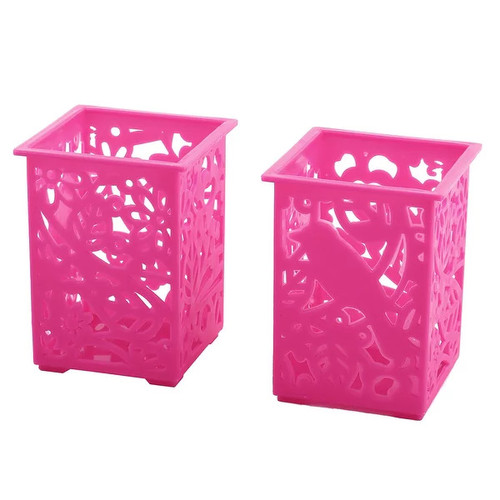 Plastic Rectangle Shape Staple Goods Storage Boxes Container Fuchsia 2 PCS