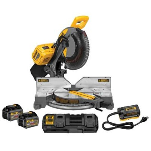 DEWALT FLEXVOLT 120-Volt MAX Lithium-Ion Cordless Brushless Double Bevel 12 in. Miter Saw with (2) Batteries 6Ah and Charger