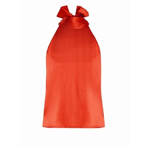 Tie-neck silk-satin top