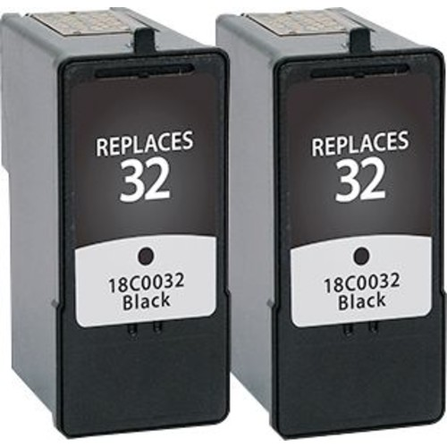 Staples Remanufactured Black Ink Cartridges, Lexmark 32 (SIL-R32B2DS), Twin Pack