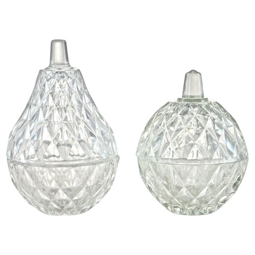 Pear & Apple Glass Boxes, Pair