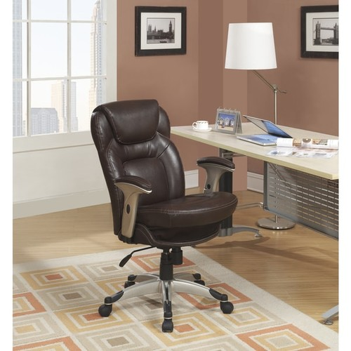 Serta Back in Motion Health and Wellness Frye Chocolate Bonded Leather Office Chair