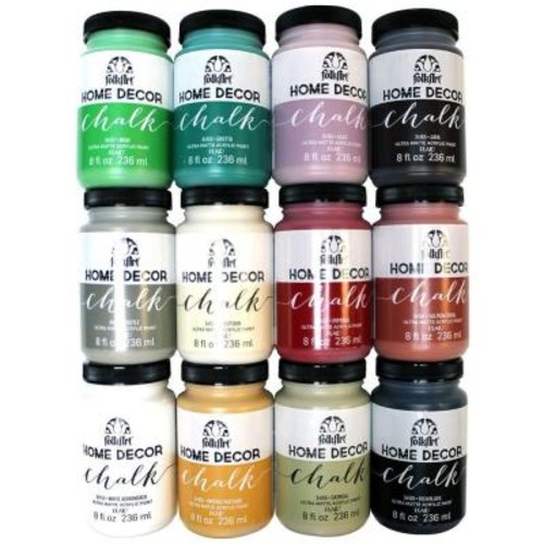 FolkArt Home Decor 8 oz. 12-Color Ultra Matte Chalk Finish Paint Set