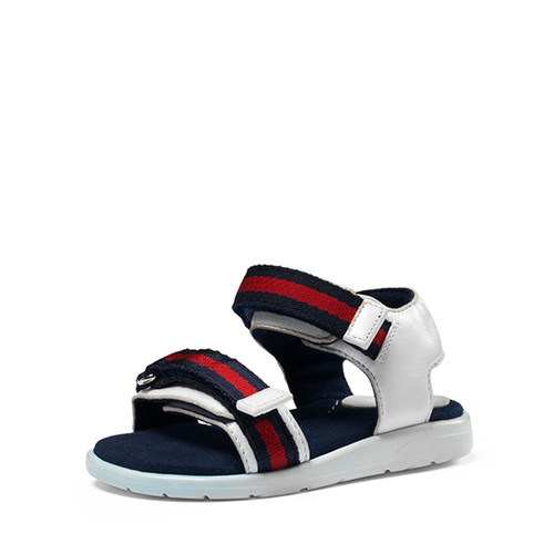 GUCCI Gauffrette Web-Strap Sandal, Red/White/Blue, Toddler