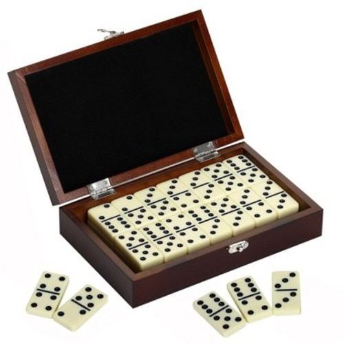 Hathaway Premium Domino Game Set with Wooden Carry Case - Walnut