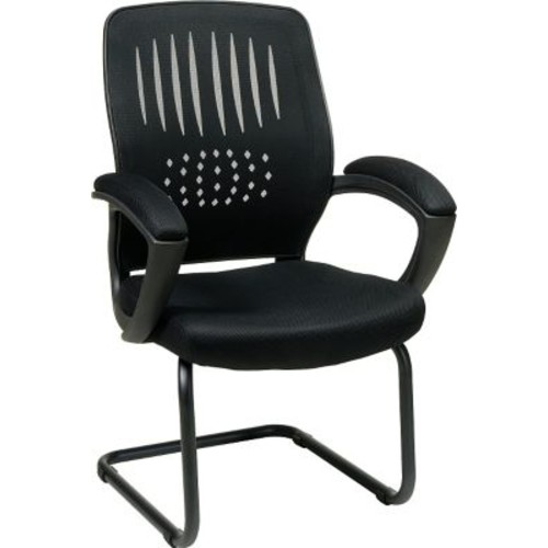 Office Star WorkSmart Fabric Guest Chair with Screen Back, Black