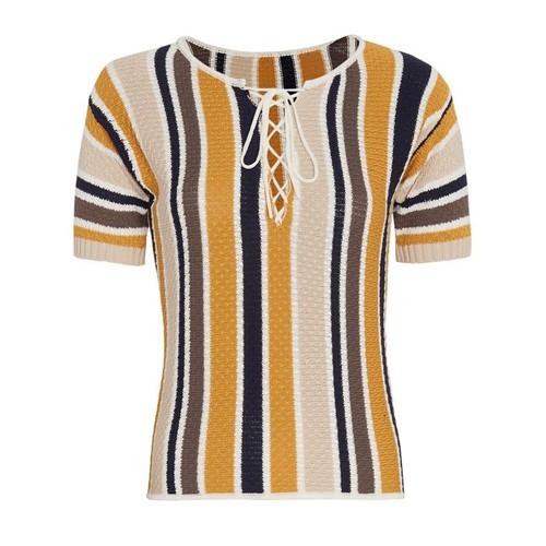 FRAME Lace-Up Striped Knit