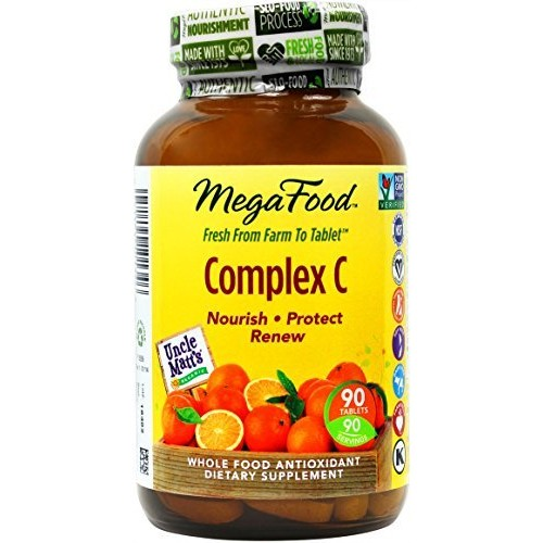 MegaFood - Complex C, Supports Immunity and Well-being with Rosehips and Orange, Vegan, Gluten-Free, Non-GMO, 90 Tablets