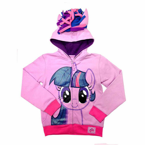 My Little Pony Girls Twilight Sparkle Costume Hoodie with Crystalline and 3D Mane and Wings