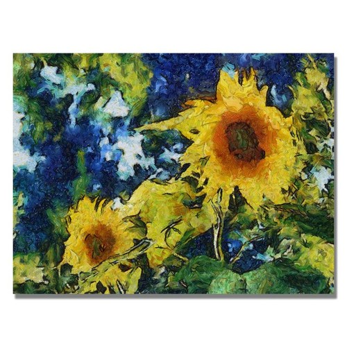 Trademark Global Michelle Calkins 'Sunflowers' Canvas Art [Overall Dimensions : 35x47]