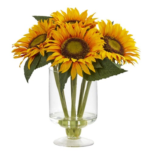 Nearly Natural 12 in. Sunflower Artificial Arrangement in Glass Vase