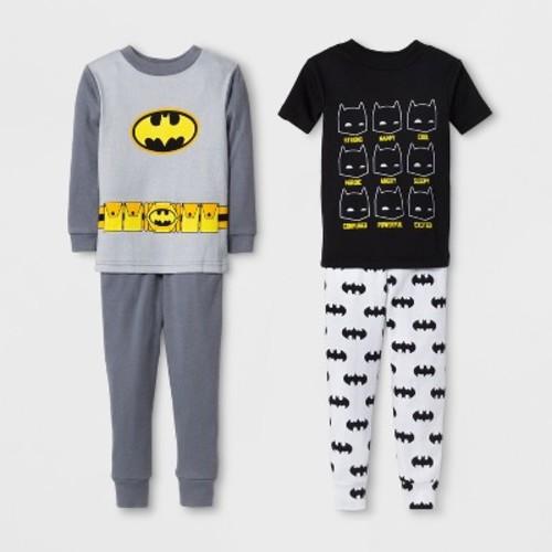 Toddler Boys' Batman 4pc Cotton Pajama Set - Black