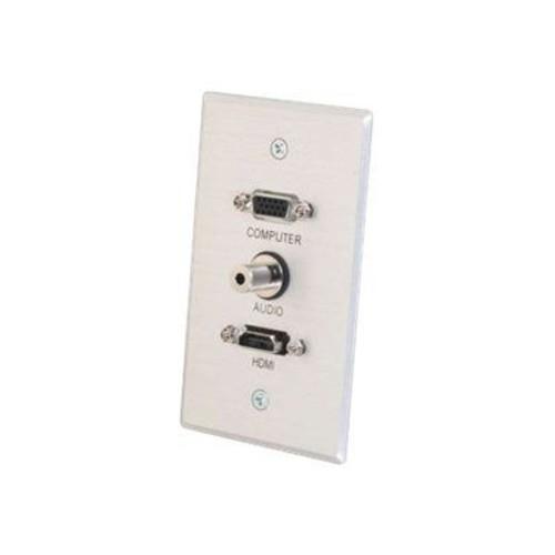 C2G 41034 Single Gang HDMI, HD15 VGA and 3.5mm Wall Plate, Brushed Aluminum