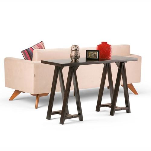 Simpli Home Sawhorse Dark Chestnut Brown Console Table