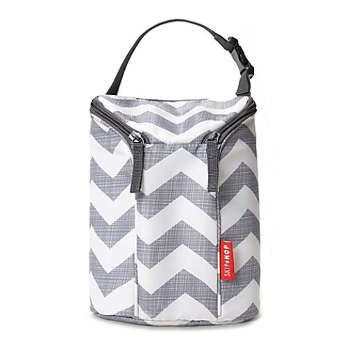SKIP*HOP Chevron Grab & Go Double Bottle Bag in Grey/White