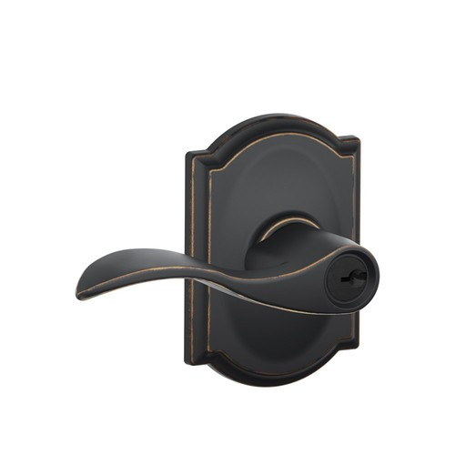 Schlage F51 ACC 716 CAM Camelot Collection Accent Keyed Entry Lever, Aged Bronze [Aged Bronze]