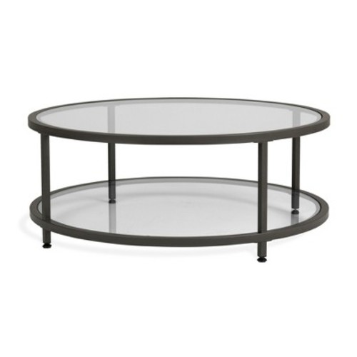 Home Camber Modern Glass Round Coffee Table 38 inches - Grey - Studio Designs