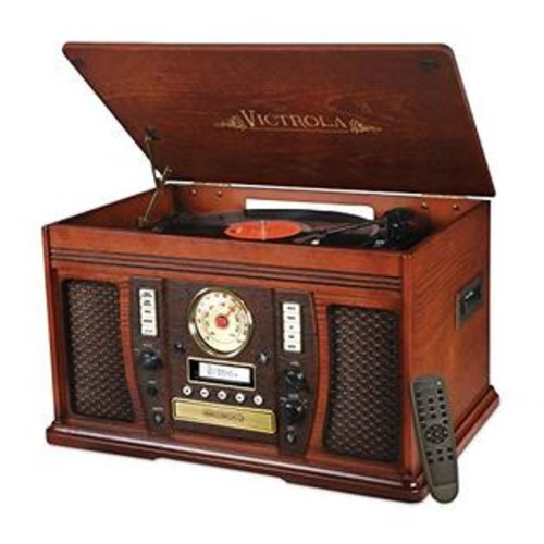 Victrola VTA-750B Nostalgic Aviator 7-in-1 Turntable Wooden Entertainment Center with Bluetooth, Mahogany