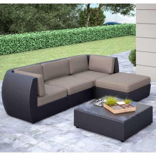 Seattle Curved 5 pc Sofa with Chaise Lounge Patio Seating Set