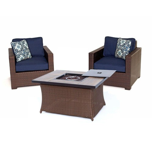 Hanover Metropolitan 3-Piece All-Weather Wicker Patio Chat Set with LP Gas Fire Pit Table and Navy Blue Cushions