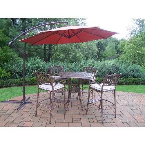 Bar Set with Round Table, 4 Cushioned Bar Stools, Umbrella and Base