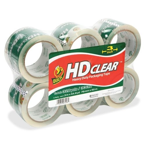 Duck HD Clear Packaging Tape, 2.6 mil, 3 Inches x 55 Yards, Clear, 6-Pack
