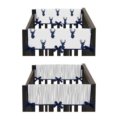 Sweet Jojo Designs Navy and White Woodland Deer Collection 2-piece Side Crib Rail Guard Cover Set