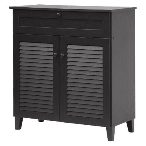 Baxton Studio Calvin Shoe-Storage Cabinet, Espresso [Espresso, 14.625Lx30.75Wx33.375H]