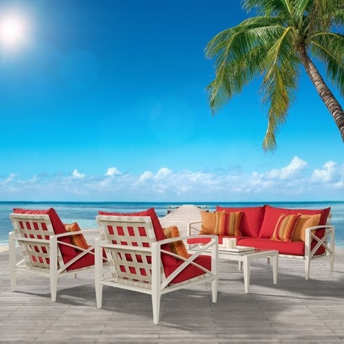 RST Brands Knoxville Sunset Red Cushion Cream Aluminum 4-piece Outdoor Seating Set