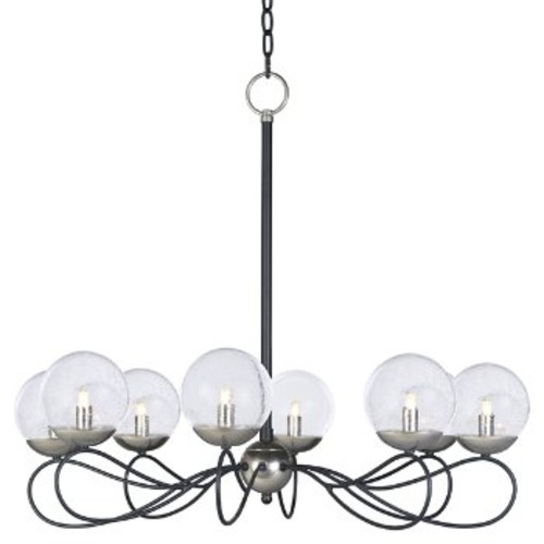 Reverb Chandelier [Number of Lights : 8; Light Option : LED; Finish : Textured Black and Polished Nickel with Clear Glass]