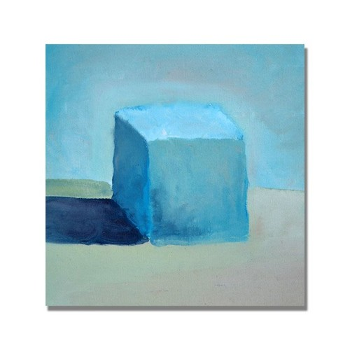 Trademark Global Michelle Calkins 'Blue Cube Still Life' Canvas Art [Overall Dimensions : 35x35]