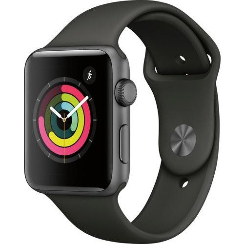 Apple - Apple Watch Series 3 (GPS), 42mm Space Gray Aluminum Case with Gray Sport Band - Space Gray Aluminum