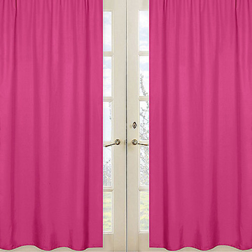 Sweet Jojo Designs Chevron Window Panel Pair in Solid Pink