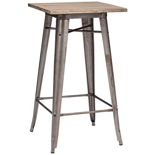 Zuo Modern Titus Rusty & Elm Wood Top Bar Table, Rustic Wood [Rustic Wood]