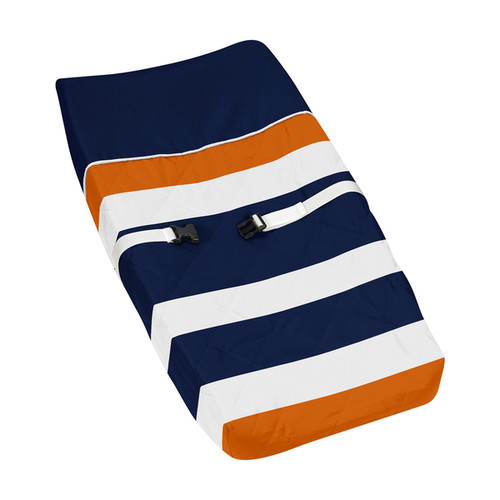 Sweet Jojo Designs Navy Blue and Orange Stripe Changing Pad Cover