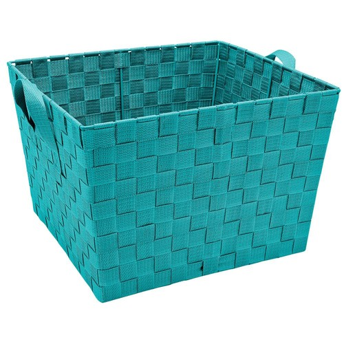 Simplify 13 in. x 15 in. x 10 in. Large Woven Storage Bin in Sapphire