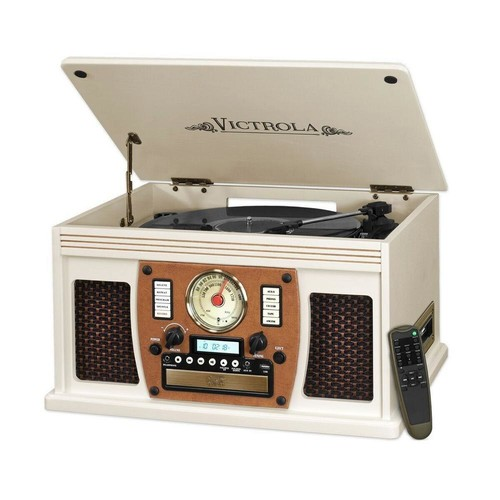 Victrola 7-in-1 Bluetooth Record Player with USB Recording in White
