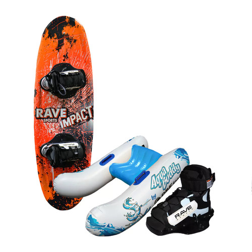 Rave Jr. Impact Wakeboard Starter Package with Aqua Buddy and Charger Bindings [Orange/Black, 122 cm.]
