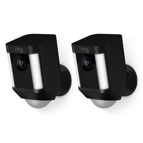 Ring Spotlight Cam Battery Outdoor Rectangle Security Camera, Black (2-Pack)