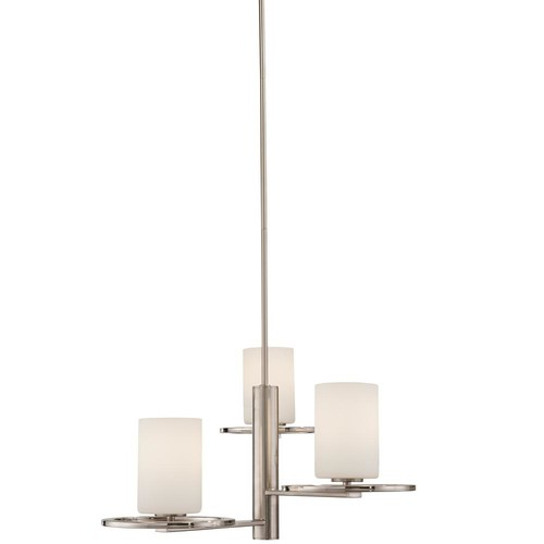 Home Decorators Collection 3-Light Polished Nickel and Brushed Nickel Chandelier with Etched Opal Glass Shade