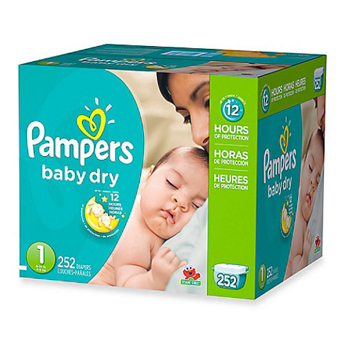Pampers Baby Dry 252-Count Size 1 Economy Pack Plus Disposable Diapers