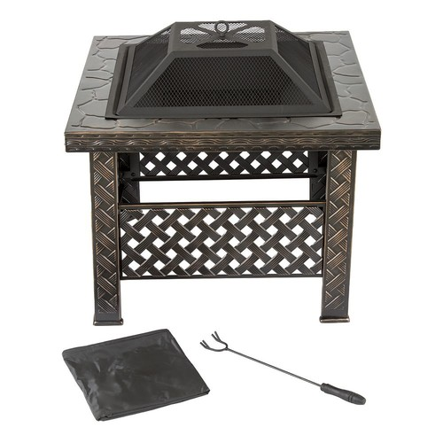 Pure Garden 26 in. Steel Square Woven Fire Pit with Cover