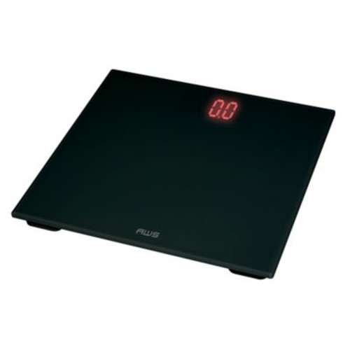 American Weigh Scales Digital Glass LED Weight Scale; Black/Red
