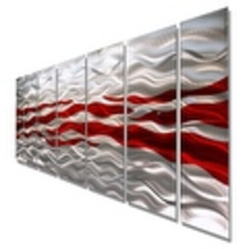 Statements2000 Red / Silver Modern Abstract Metal Wall Art Painting by Jon Allen - Caliente