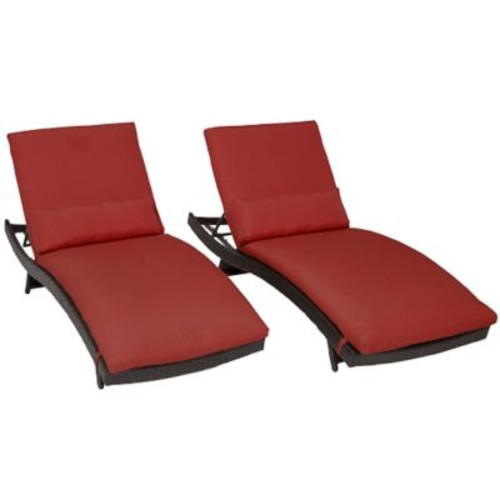 TK Classics Bali Chaise Lounge w/ Cushion (Set of 2); Terracotta