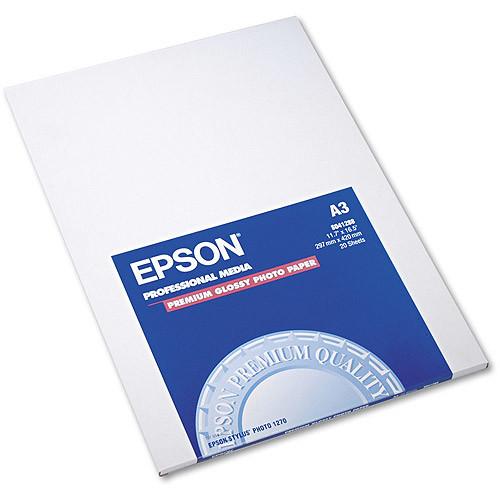 Epson Premium Photo Paper, 68 lbs., High-Gloss, 11-3/4 x 16-1/2, 20 Sheets/Pack