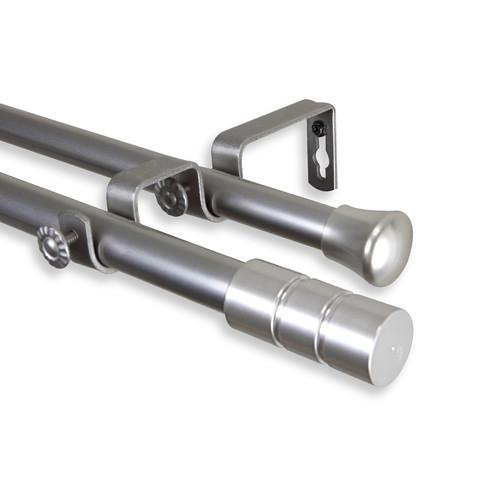 Rod Desyne Theo Double Curtain Rod 48-84 inch - Satin Nickel