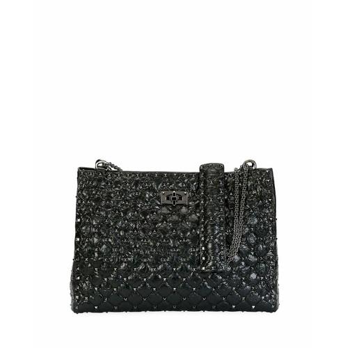 Rockstud Spike Crinkled Shoulder Bag, Black