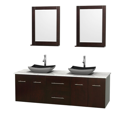Wyndham Collection Centra 72-inch Double Bathroom Vanity in Espresso, w/ Mirrors (Black Granite, Ivory Marble or White Carrera) [option : 72